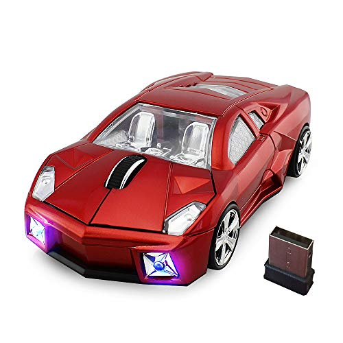 Kamouse Car Wireless Mouse 2.4GHz Optical Cool Sports Car Shape Wireless Mice 1600DPI for Pc Laptop Windows 10