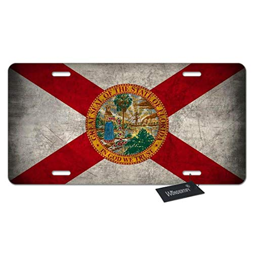 (WONDERTIFY License Plate Florida Flag Us State Custom Sunshine State Emblem Decorative Car Front License Plate,Vanity Tag,Metal Car Plate,Aluminum Novelty License Plate,6 X 12 Inch (4 Holes))
