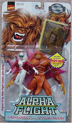 "Marvel Comics 1999 Collector Edition 2 Pack Alpha Flight Action Figure - Sasquatch (6"") and Vindicator (5"") Plus Bonus of Exclusive Motion Card"