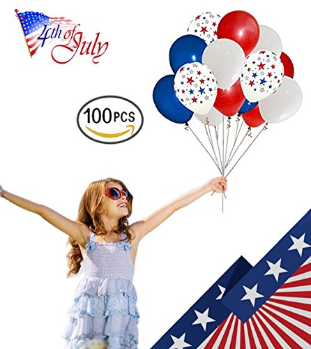 Megashop Patriotic Decoration 4th of July color Red Blue White and Stars 10in balloon 100pcs