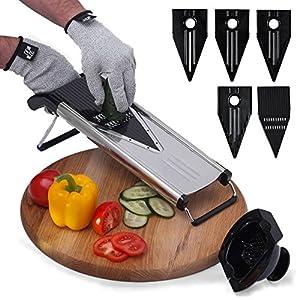 [Improved] Vegetable Mandoline Slicer V-Blade + FREE Cut-Resistant Gloves | Stainless Steel Adjustable Mandolin Slicer, Julienne Cutter | Includes 5 Inserts, Food Holder, Blade Guard & Safety Sleeve