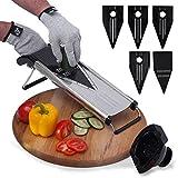 [Improved] V-Blade Mandoline Food Slicer + FREE Cut-Resistant Gloves | Stainless Steel Adjustable Vegetable Mandolin Slicer, Julienne Cutter | Includes 5 Inserts, Food Holder & Blade Guard