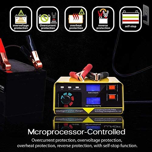 XIAOWANG Caricabatteria 240W 12V / 24V 20A 6-400AH Completamente Automatico Batteria Auto Caricabatterie Moto batterie per Auto Alimentazione Accessori Auto