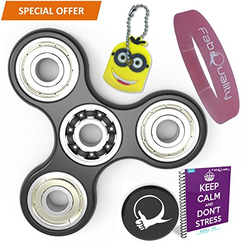 FabQuality SPECIAL OFFER Spinner Anti-Anxiety 360 Spin with EBOOK + Minion Key Chain- Perfect For ADD, ADHD Relieves Stress, Autism, Anxiety And Relax for Children and Adults EBOOK is sent by email