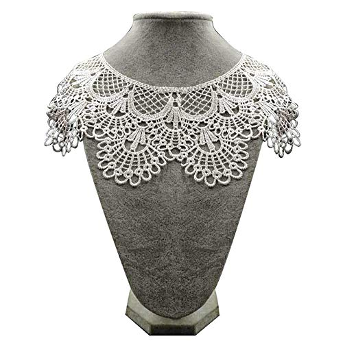 Potelin Premium Quality DIY Embroidery Lace Hollow Neckline Neck Collar Trim Clothes Sewing Applique - White