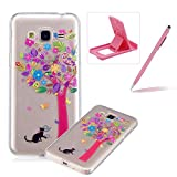 Glitter Case for Samsung Galaxy J320 2016,Crystal TPU Cover for Samsung Galaxy J320 2016,Herzzer Ultra Slim Creative [Colorful Pattern] Bling Sparkly IMD Design Shock-Absorbing Soft Silicone Gel Bumper Cover Flexible TPU Transparent Skin Protective Case