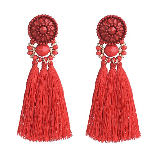 D EXCEED Womens Fashion Statement Thread Tassel Earrings Bohemian Handmade Facet Bead Chandelier Earrings Tassel Dangle Drop Earrings Red ()