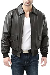 Landing Leathers Men\'s Air Force A-2 Leather Flight Bomber Jacket - Brown XL