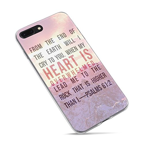iPhone 6 6s Bible Verses Quote Case- Christian Bible Verses Motivational Pink Sunset Mountain Psalm 61:2 Lead Me To The Rock That Is Higher Than I Soft Rubber Clear Side iPhone 6 6s Case(4.7