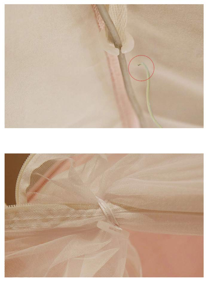 Household Mosquito net Insect-Proof Double Bed Gauze Three-Door Zipper Princess Room Single encryption Thickening Tent, Pink, 1.8M by Lostryy-Mosquito Nets Baby (Image #5)