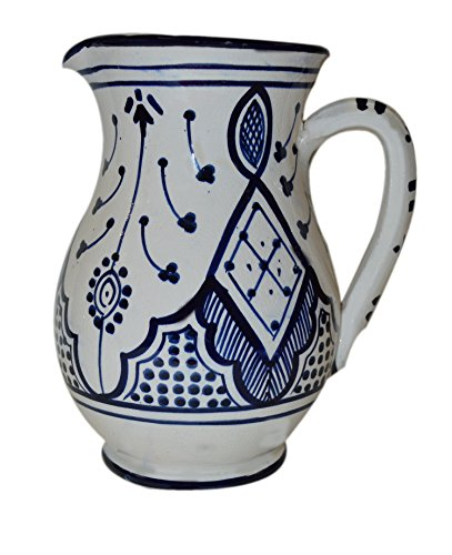 Moroccan Pitchers Sangria Handmade Ceramic Carafe Beverage Dispenser Jar Cooler Easy Pour 58 oz (Dispenser Stoneware Water)