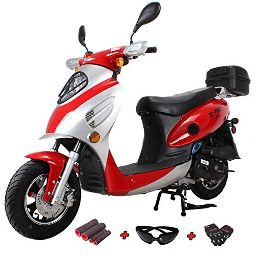 X-PRO 50cc Street Legal Automatic Moped Scooter with Gloves, Goggle and Handgrip,Red