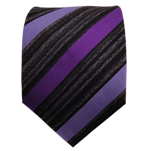 TigerTie cravate en soie lila violet anthracite noir rayé - cravate en soie