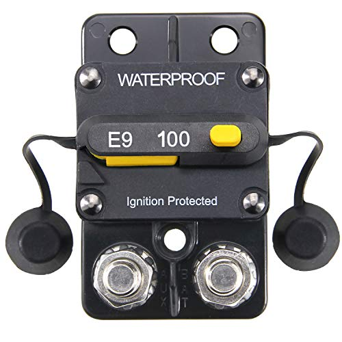 ZOOKOTO 12-48V DC 100A Surface Mount Circuit Breaker with Manual Reset Waterproof 100Amp