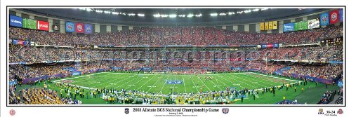 LSU Tigers beat Ohio State Buckeyes 2008 Allstate BCS National Championship Game - NCAA 13.5x39 Panoramic Poster. Deluxe Double Matted with Black Metal Frame #5023