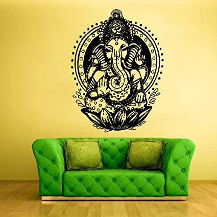 Wall Vinyl Sticker Decals Decor Art Bedroom Design Mural Ganesh Om Lotos  Elephant Lord Hindu Success