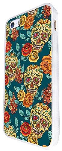 299 - Sugar Skulls Shabby Chic Floral Roses Aztec Design iphone SE - 2016 Coque Fashion Trend Case Coque Protection Cover plastique et métal - Blanc