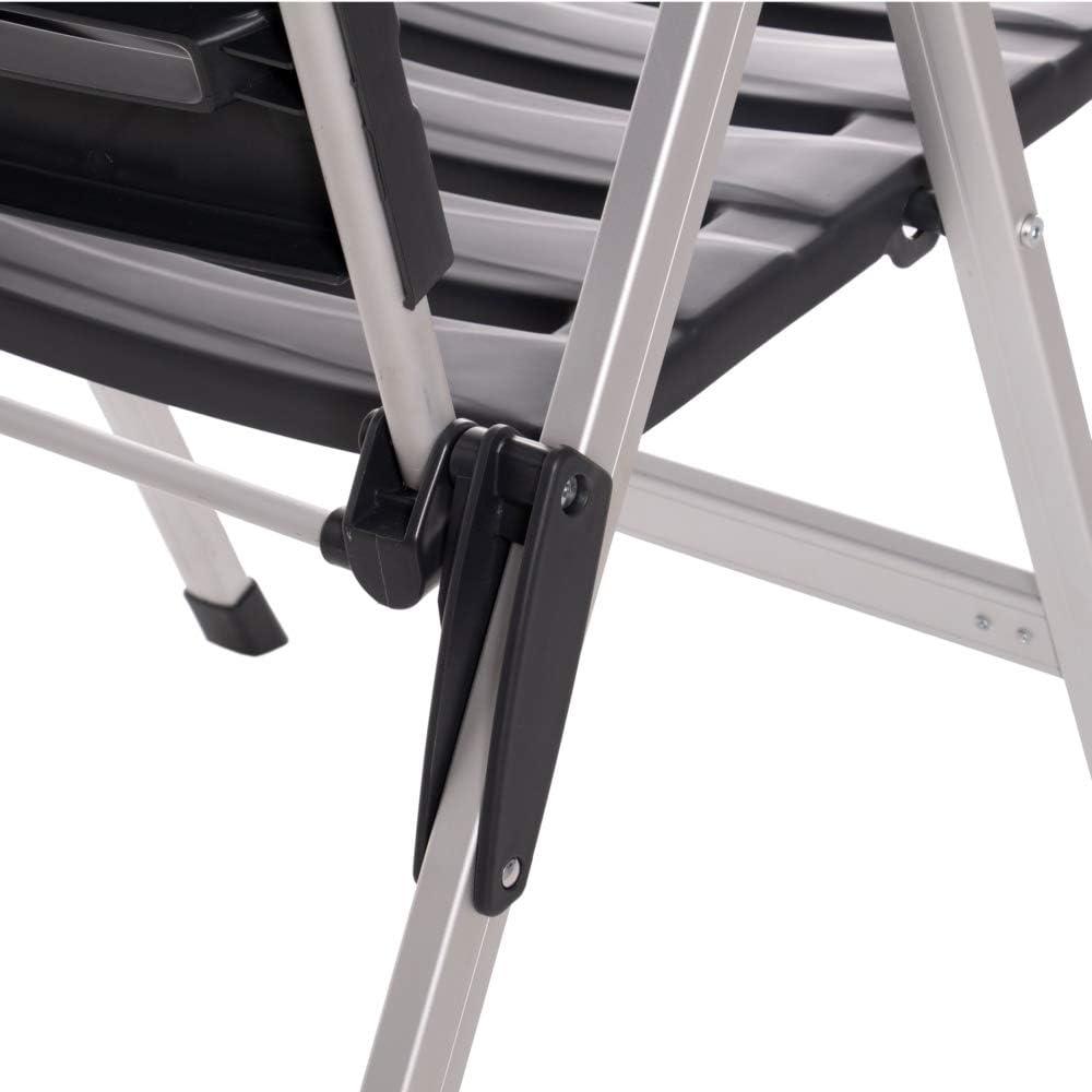 Silla Plegable Negra de Aluminio con 3 Posiciones Moderna Garden LOLAhome