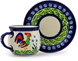 Polish Pottery Espresso Cup with Saucer 3 oz (Country Rooster Theme) Signature UNIKAT