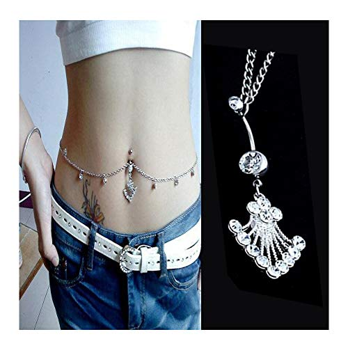 VITORIA'S GIFT Fashion Sexy Piercing Navel Nail Body Jewelry Flower Pendant Crystal Belly Button Rings (Crystal-White)