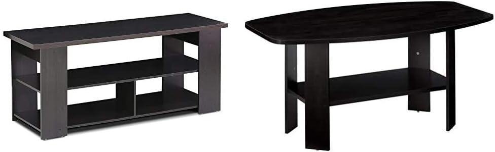 FURINNO Jaya TV Stand & Simple Design Coffee Table, Espresso
