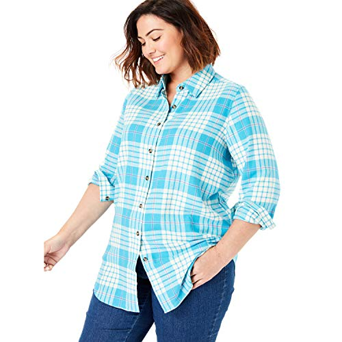 - Woman Within Women's Plus Size Classic Flannel Shirt - Deep Turquoise Plaid, 1X