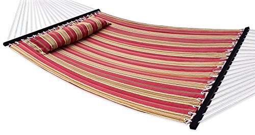 Nova Microdermabrasion Hammock Quilted Fabric with Pillow Double Size Spreader Bar Heavy Duty Portable Outdoor Camping Hammock For Outdoor Patio Yard (450lbs Capacity) (Quilted Large Hammock Fabric)