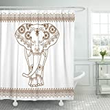 TOMPOP Shower Curtain Thai Elephant with Border Brown in Ethnic Mehndi Style Frontal Elephant's White Thailand Waterproof Polyester Fabric 72 x 72 Inches Set with Hooks