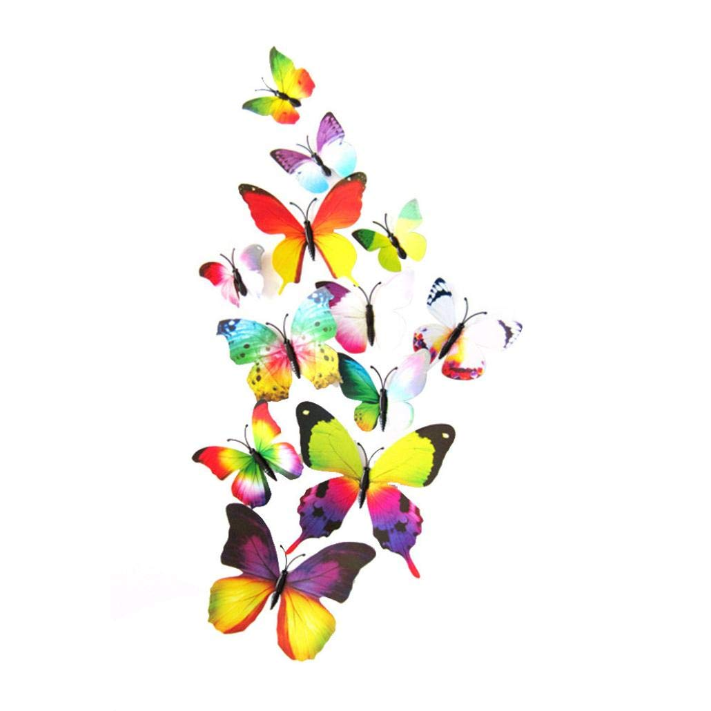 yijiamaoyiyouxia 12pcs Decal Wall Stickers Home Decorations 3D Butterfly Rainbow (Colorful)