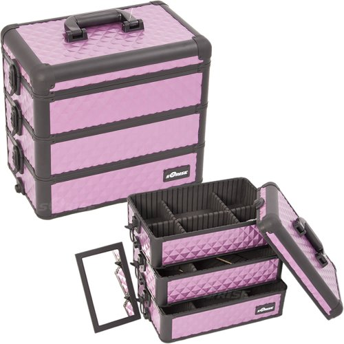 PurpleBlack-Interchangeable-Stackable-Tray-Diamond-Pattern-Professional-Aluminum-Cosmetic-Makeup-Case-with-Dividers-E3303