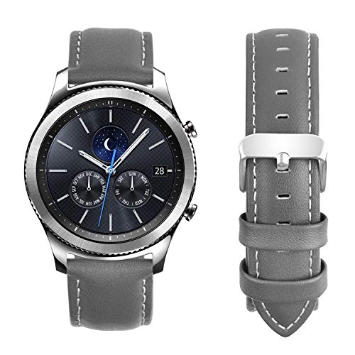 Fullmosa Compatible Samsung Galaxy 46mm/Gear S3 Frontier/Classic Watch Bands, Quick Release Leather Watch Band for Gear S3 Bands/Moto 360 2nd Gen 46mm 22mm Watch Band, Grey + Silver Buckle ()