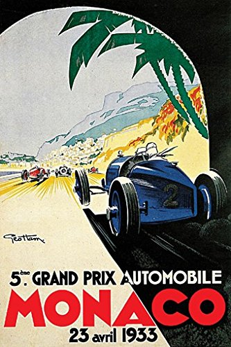 - GRAND PRIX de MONACO POSTER 1933 French Vintage Car Racing RARE HOT NEW 24x36