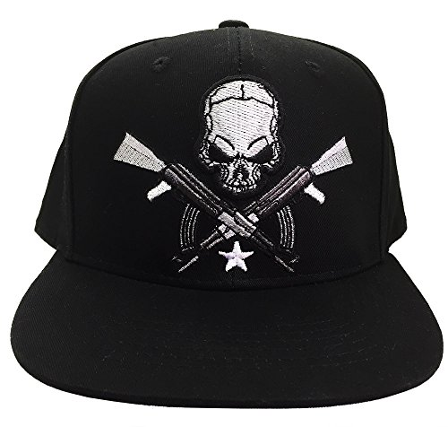 Skull & AK-47 Cap, Adjustable 3D Embroidery Baseball Cap Hat, Flat Brim (Black-2) Acrylic Skull Hat