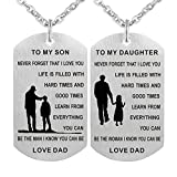 Stainless steel Dog tag Inspirational pendant necklace Never forget that I love you To my son/daughter BLMDP15