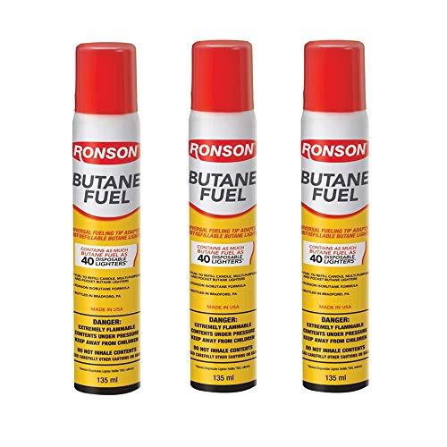 Ronson Lighter Butane Refill 135ML, White, 2.75