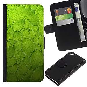 LASTONE PHONE CASE / Lujo Billetera de Cuero Caso del tirón Titular de la tarjeta Flip Carcasa Funda para Apple Iphone 6 4.7 / Green Sun Nature Biology Macroscopic