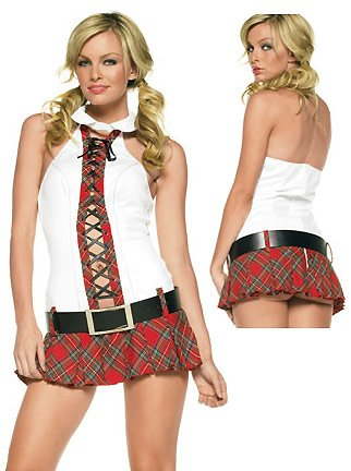 Sexy 2Pc Schoolgirl Prep School Drop Out Girl Halloween Costume