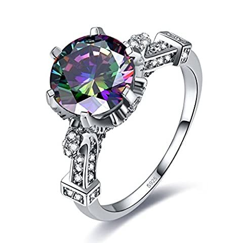 Merthus 6.5ct Mystic Rainbow Topaz Engagement Promise Cocktail Ring 925 Sterling Silver - 6.5k Metal