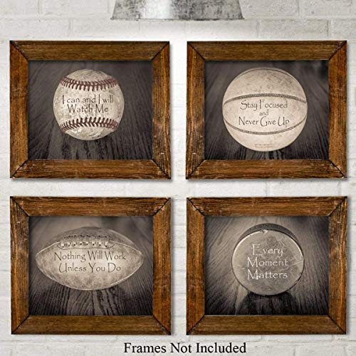 (Inspirational Sports Quotes - Set of Four Photos (8x10) Unframed - Makes a Great Gift Under $20 for Boy's Room Decor)