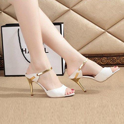 da Caviglia Pelle Traspirante Donna Aperte Scarpe alla Partito Tacchi Massaggio col Sandali Alti Artificiale Moda Bianco Tacco Morbido in Sandali Leggero SOMESUN Partito 40wZpWtvq0
