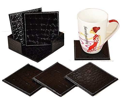 Figella set of 6pcs Square PU Faux Leather Cup Mats Coasters for Tea Coffee & Drink Cup With Holder (black crocodile) Leather Crocodile Coffee Table