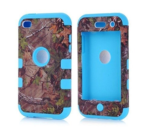 Kecko(TM) Defender Tough Armor Tree Camo Shockproof Dual Layer High Impact Camouflage Hunting Tree Forest Hybrid Hard Suitable Fit Case Cover For ipod Touch 4 4th Only--Forest/Tree/Leaves On The Core (Blue)