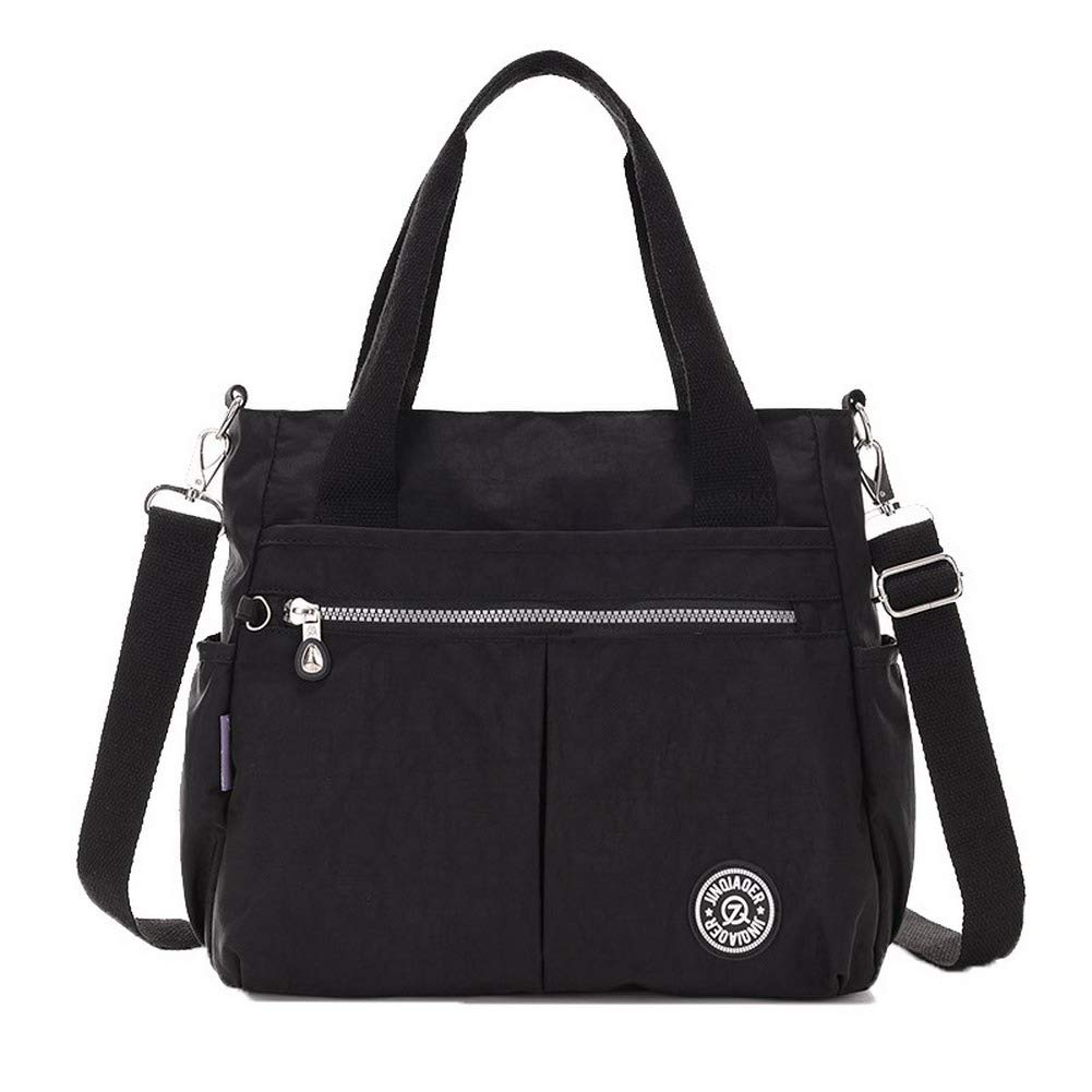 Black WeiPoot Women's Casual Flowers Nylon Tote Bags Crossbody Bags,EGHBG210134