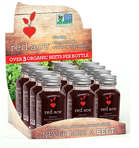 Red Ace 100% Organic Beet Juice Shots, Non GMO, 12 Count (Best Juice For Anemia)