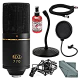 MXL 770 Cardioid Condenser Microphone Kit with Pop Filter, Mic Stand, XLR Cable, Mic Sanitizer, FiberTique Cleaning Cloth