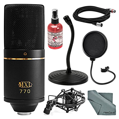 - MXL 770 Cardioid Condenser Microphone Kit with Pop Filter, Mic Stand, XLR Cable, Mic Sanitizer, FiberTique Cleaning Cloth