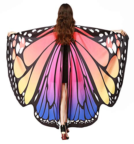 Butterfly Wings Shawl Festival Props Nymph Pixie Poncho Costume for Halloween Dancing Party