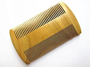 """Myhsmooth GS-SM-NF Handmade Natural Green Sandalwood No Static Comb Pocket Comb Perfect Beard Comb with Aromatic Scent for Long and Short Beards Perfect Mustache Comb(4"""" Long Two Sides)"""
