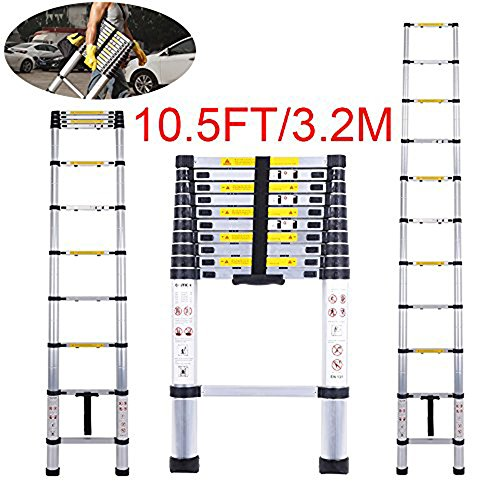 Telescoping Ladder Jason 10.5FT | 3.2M Max Load 330lbs Aluminum Ladder Extendable Ladder with EN131 and CE Standard [Step A +++](10.5FT/3.2M) by jason