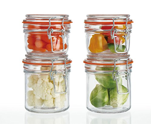 Simple Flow - 4-Piece Glass Canister Set with Airtight Clamp Lids-Food Storage Container